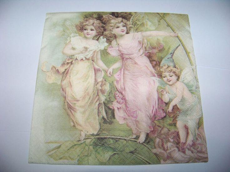 3  Servietten Nostalgie Sagen Vintage Putten Engel Fairies Napkin