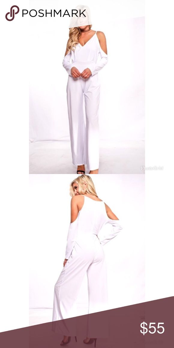  ❣️ White Cold Shoulder Jumpsuit This comfortable and flattering jumpsuit features a v-neck, cold shoulder sleeves and a zipper in the back. Wearing white or nude spanx is recommended.  88% polyester 12% spandex Price is firm. No trading.   🌼 Please click on the icon of Buttercups and Daisies or caradock at the top of this listing to see more of my items for sale 🌼  💙 Remember to hit the Blue Follow button too! 💙 Pants Jumpsuits & Rompers