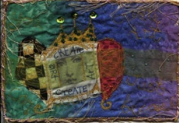 fabric postcard for swap