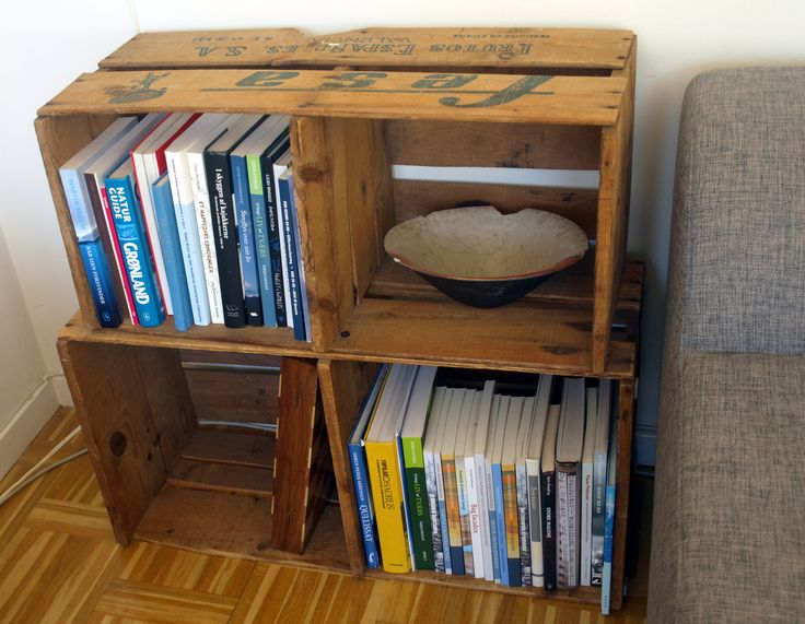 Fruit boxes from Israel used as book shelf.