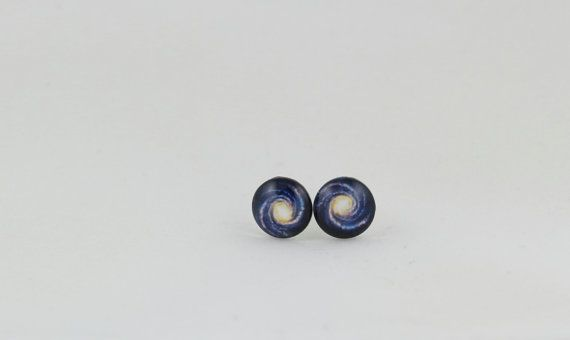 Blue Galaxy 10mm Stud Earrings - Space Earrings - Star Cluster Earrings - Science Earrings - Astronomy Earrings - Nebula Earrings