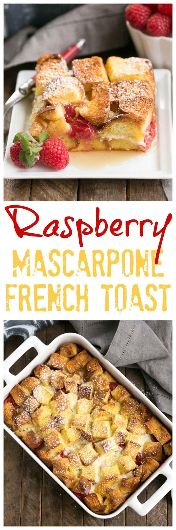Raspberry Mascarpone French Toast Casserole | A delectable, make ahead breakfast strata filled with mascarpone cream and fresh raspberries @lizzydo