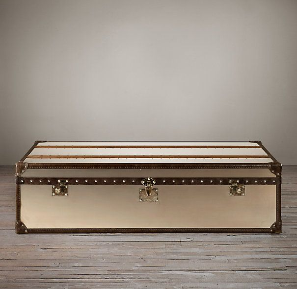 Restoration Hardware Richards Trunk Coffee Table: Mayfair Steamer Trunk Coffee Table - Brushed Steel