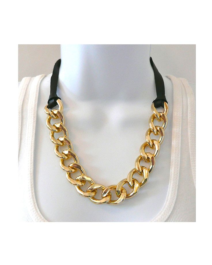 Chain and Leather Necklace - JewelMint