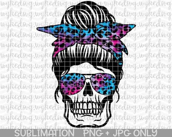Sublimation .PNG Leopard Digital Download Skull 80/'s Hair Band