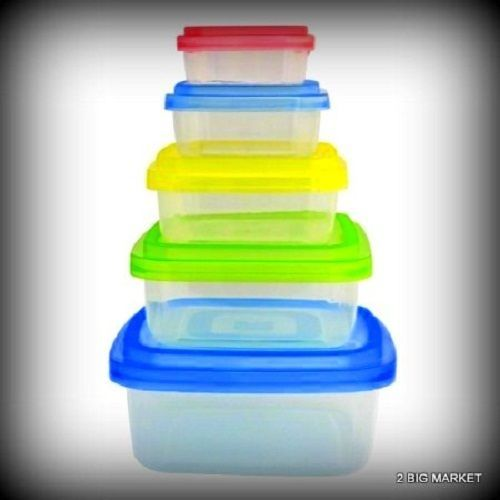 10 Piece Mixing and Storage Bowl Set Colored Lids Square BPA Container  #HomeCollections