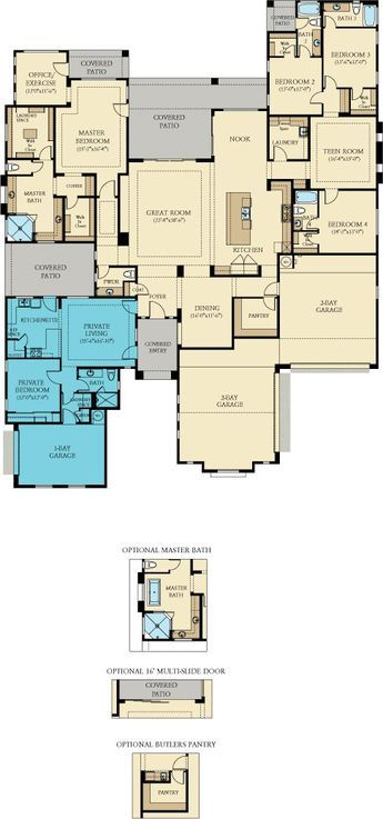 house plan with attached in law casita all secondary bedrooms with own bath lennar layton lakes estates 5 bedroom 6 bath with nextgen casita guest house - House Plans With Attached Casita