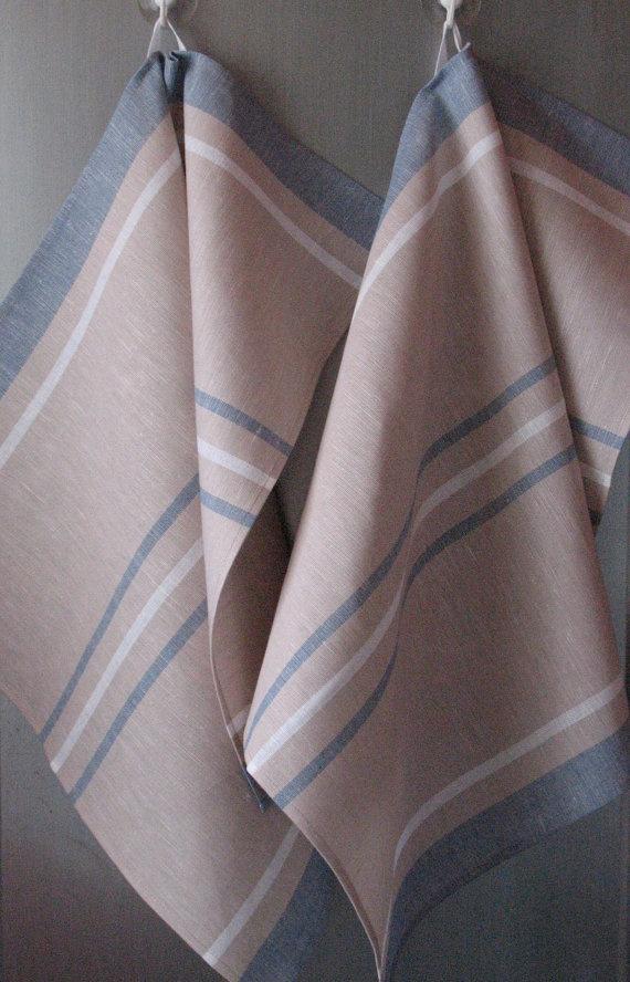 Linen Cotton Dish Towels Tea Towels Beige Sand by Coloredworld, $15.90