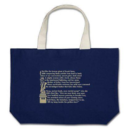 Statue of Liberty - New Colossus Patriotic Poem Large Tote Bag - accessories accessory gift idea stylish unique custom