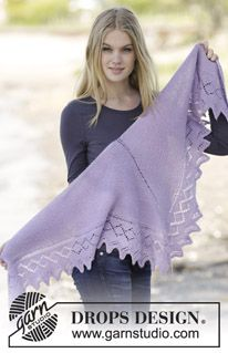 "Lavendula - Knitted DROPS shawl in garter st with edge in lace pattern in ""Alpaca"". - Free pattern by DROPS Design"