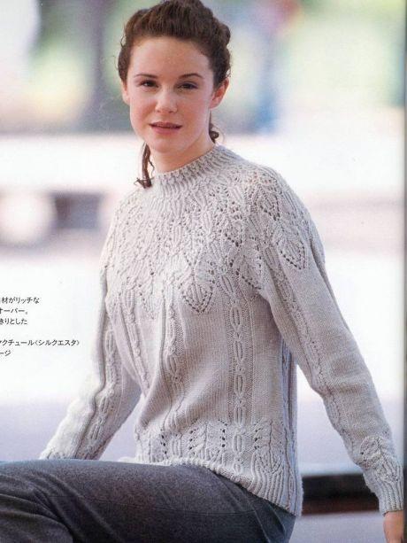 Серый свитер с круглой кокеткой
