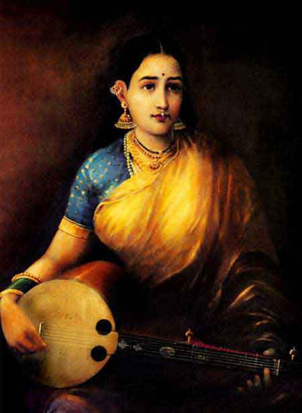 #IndianPaintings - Lady with Swarbat (oil painting on canvas) - A lady playing music instrument Swarbat. Oil painting on canvas by Raja Ravi Varma dated 1874 - Kowdiar Palace, Thiruvananthapuram, Kerala.
