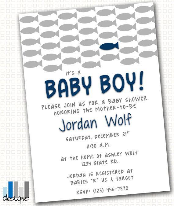 Fish baby shower invitation 5x7 printable pdf jpg for Fishing baby shower invitations