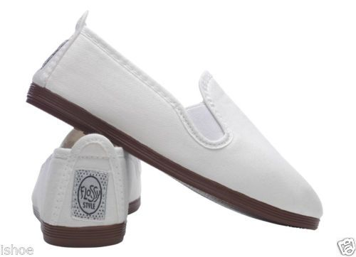 WOMENS FLOSSY FLOSSYS SLIP ON FLAT CANVAS PLIMSOLLS PUMPS SHOES UK SIZE 2-9 NEW | eBay