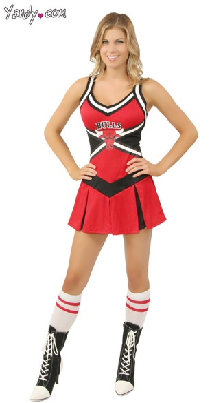 Satin And Lace Halter Babydoll Cheerleader Costume