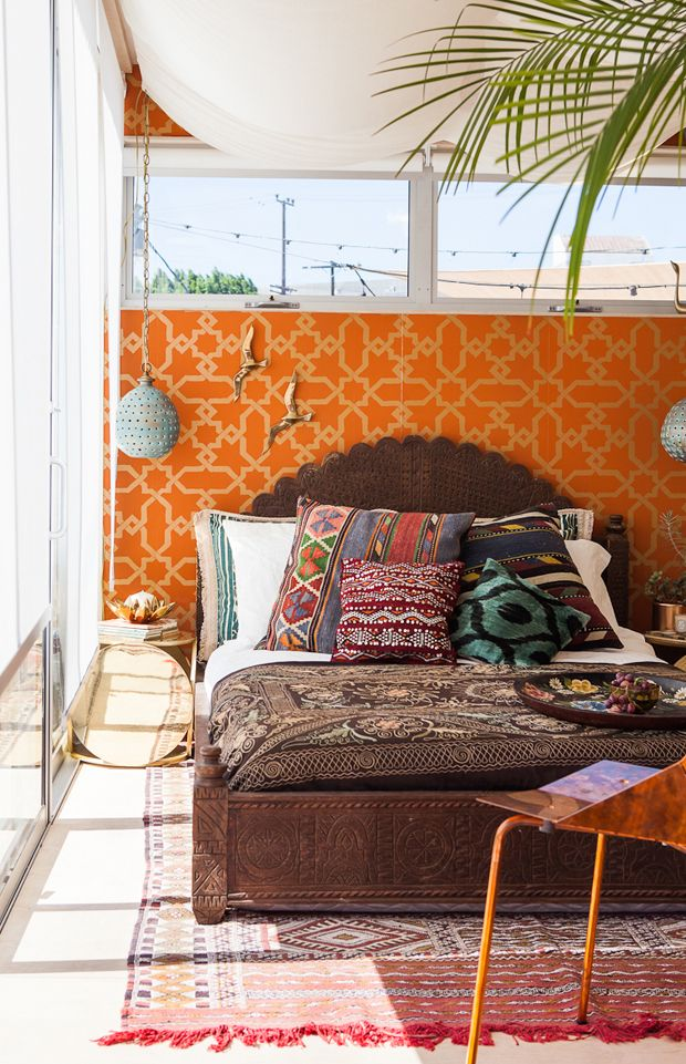 Bohemian, ethnic, rustic, chic.  Design by Justina Blakeney for AirBnB, Photo by Laure Joliet