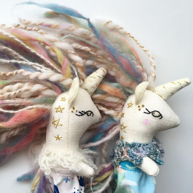 embroidered stars on unicorn dolls by liberty lavender dolls