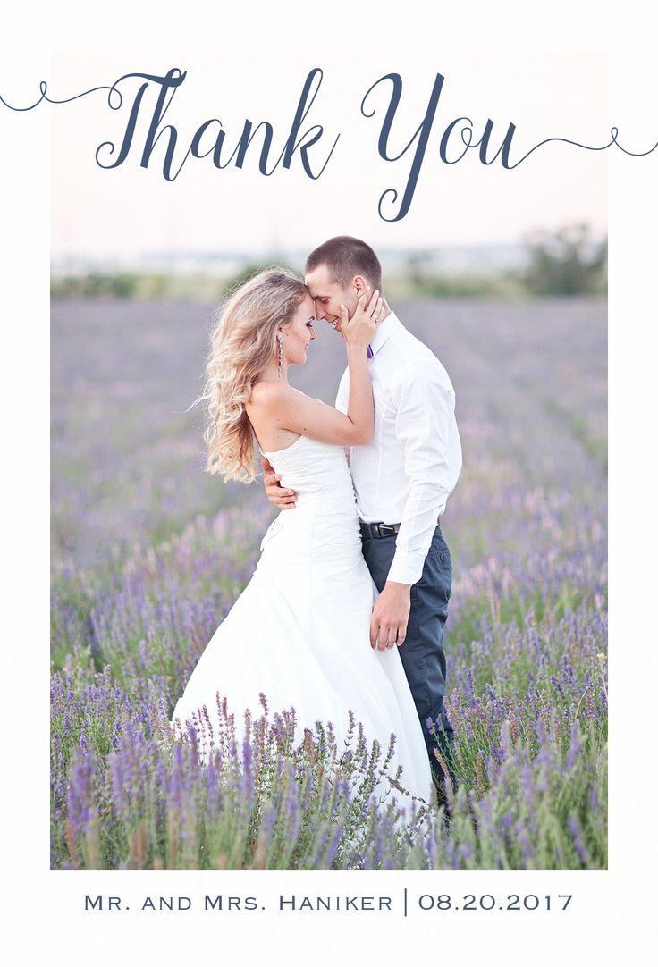 beautiful photo wedding thank you card