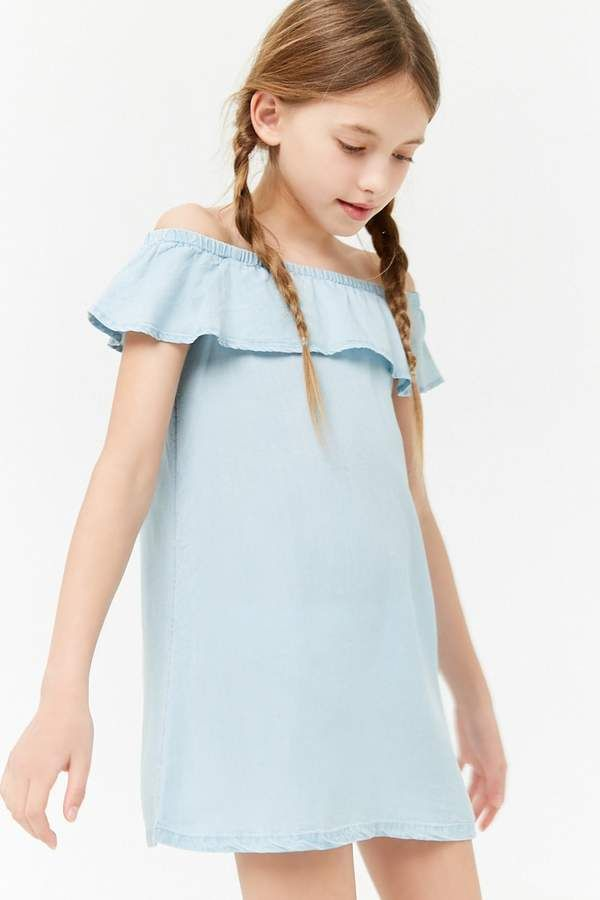 e890a8253ba4 Forever 21 Girls Chambray Off-the-Shoulder Dress (Kids)