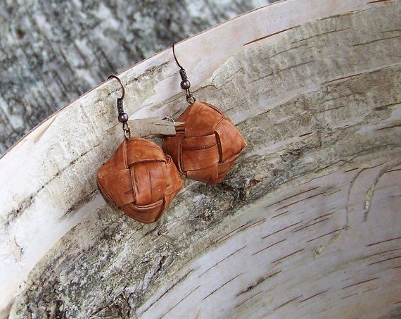 Handmade Birch bark Earrings plaited Women Accessory by BirchBirds