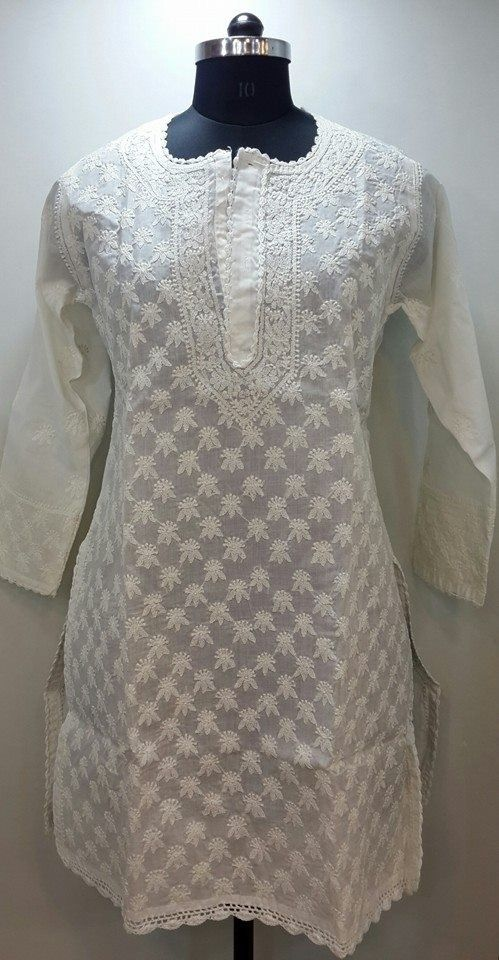 Lucknow Chikan Online Kurti White on White Cotton with very fine chikankari murri, shadow & kangan work with designer neckline $34