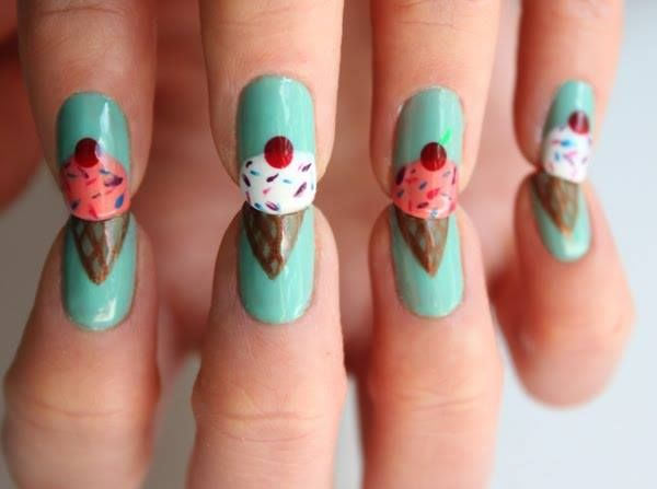 ice cream---Such a cute idea!!!Nails Art, Nailart, Nails Design, Icecream Nails, Summer Nails, Nails Ideas, Ice Cream Nails, Nail Art, Ice Cream Cones