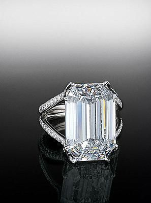 "Emerald Cut Flawless Diamond ring  A beautiful ""D Flawless"" 19 carat emerald cut stone with split shank mounting."