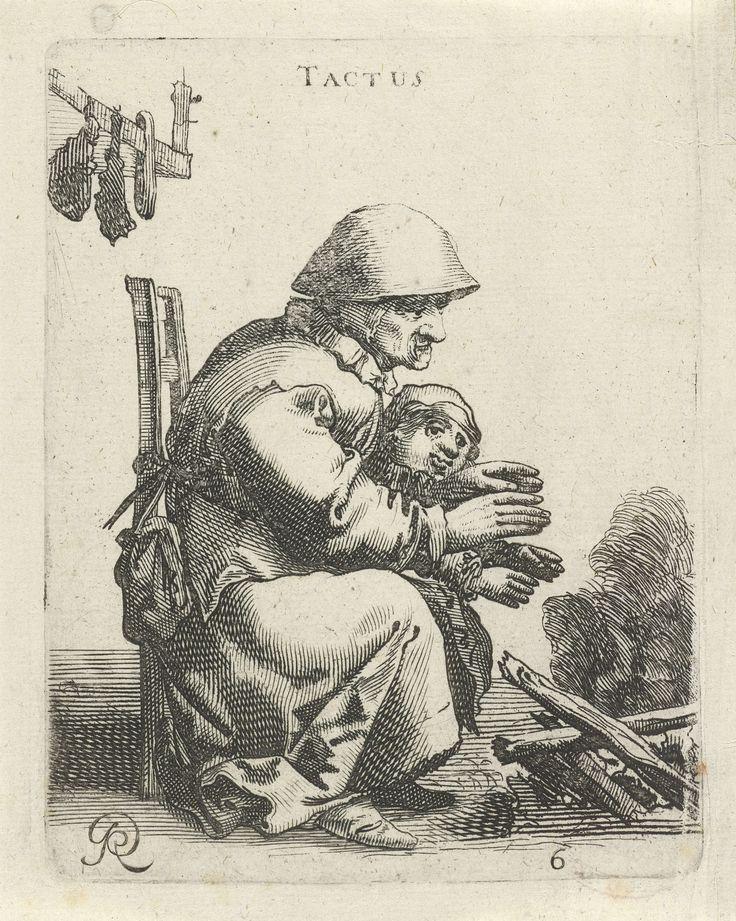 Pieter Jansz. Quast | Gevoel, Pieter Jansz. Quast, 1638 | Een oude vrouw en een kind warmen gezamenlijk hun handen bij een vuur. De prent maakt deel uit van een serie van zes prenten met de vijf zintuigen.