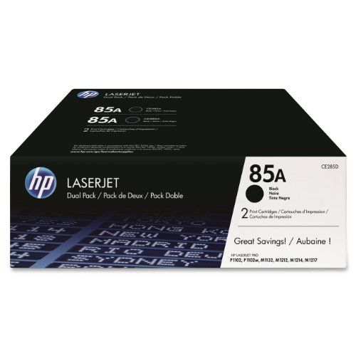 HP 85A (CE285D) Black Original LaserJet Toner Cartridges, 2 pack