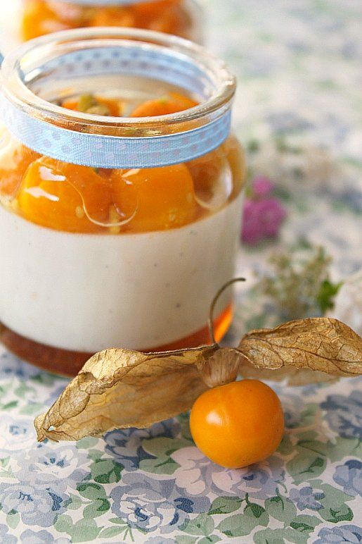 Vanilla & Honey Panna Cotta with Poached Cape Gooseberries