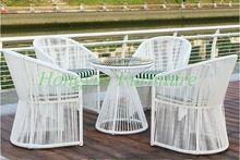 Giardino esterno di alta qualità bianco mobili in rattan sedia da tavolo 4 + 1 set(China)