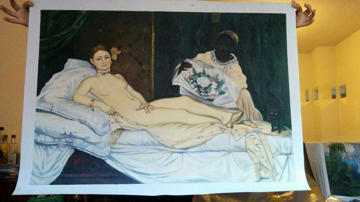 Copia del dipinto Olympia di Manet.