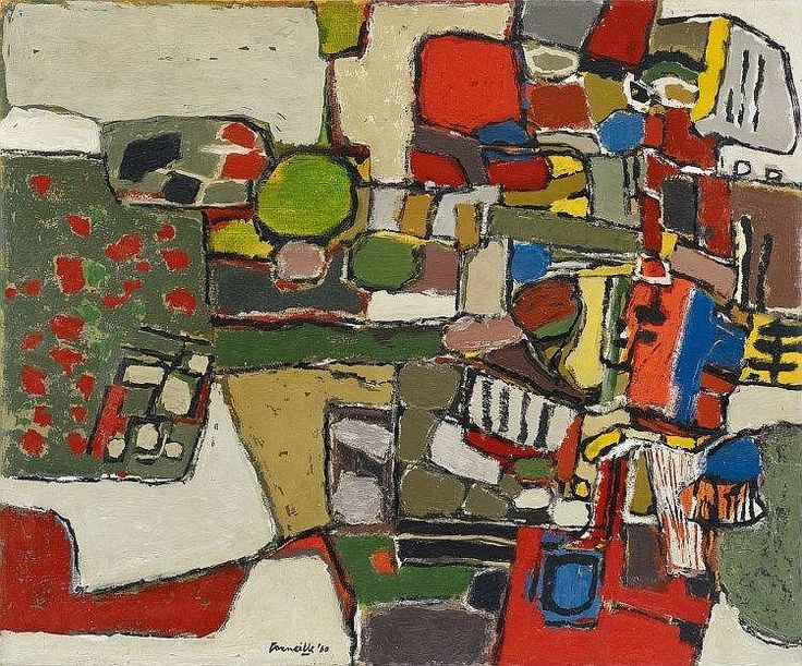 """Signed and dated 'Corneille '60' and titled '""""jeune paysage"""" Corneille '60' verso on canvas and stenciled numeration """"1977 117"""" (crossed out) Dimensions: 54 x 65 cm Medium: Oil on canvas Framed"""