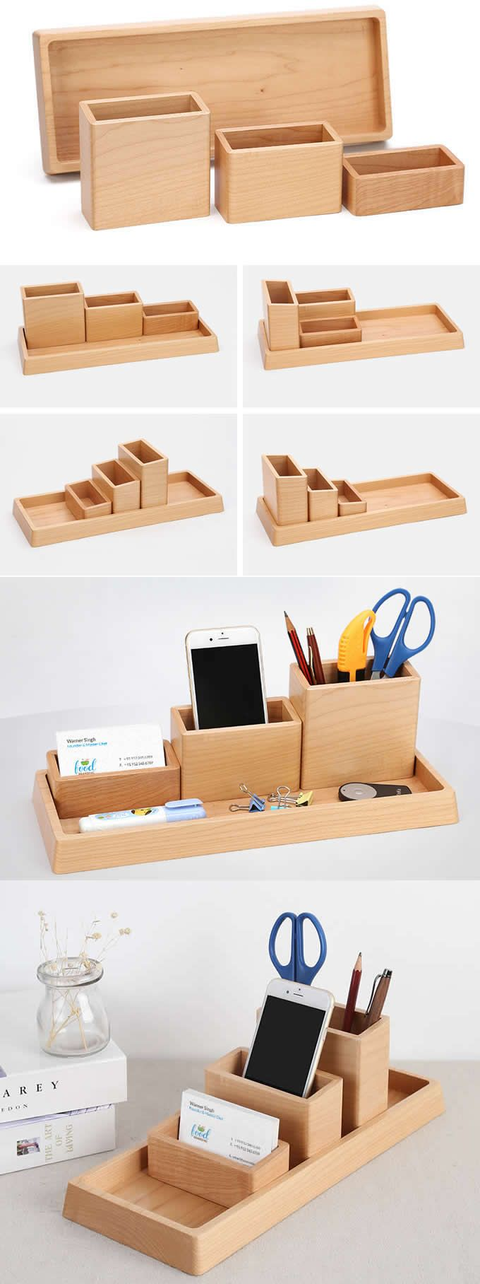 4 Compartments Wooden Office Desk Organizer Collection Smart Phone Dock Holder Pen Pencils Holder Business Card Stand Holder Desk Supplies Stationary Organizer Set