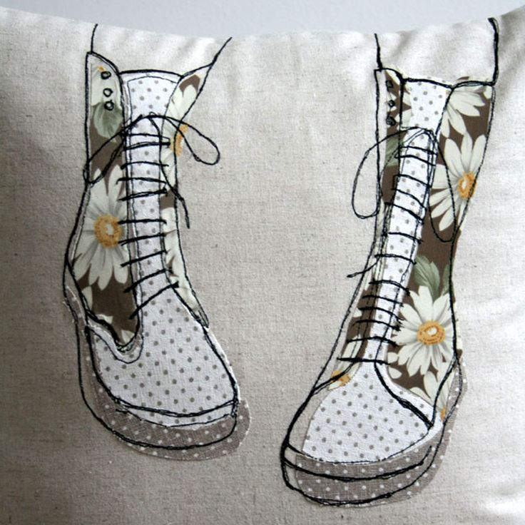 Applique and embroidered cushion. Doc Martens boots