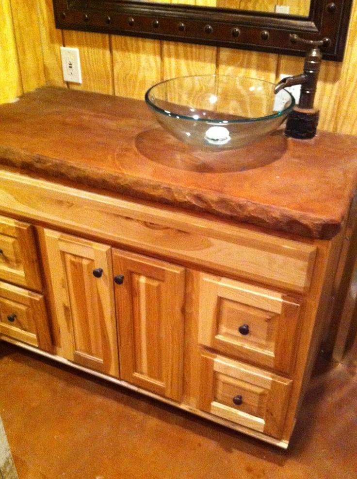 Custom Rustic Bathroom Vanity Concrete Countertops