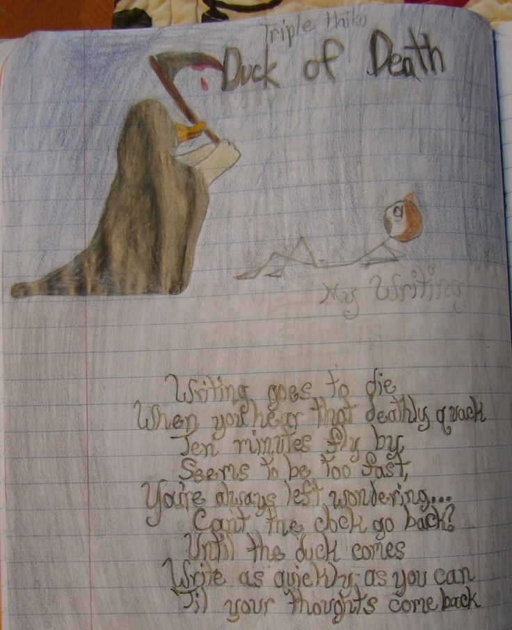 """7th grader Nico wrote three haikus as one poem: we call these """"tri-kus"""" in my class.  His poem honors the """"Duck of Death,"""" which is the quacking noise my timer is set to make on my iPhone. The """"Duck of Death"""" tells you to kill that sentence you're on with a period because we are about to move on.  Nico won a """"Mr. Stick of the Year"""" award for this humorous tribute to that evil duck.  My Mr. Stick resources are free to access at my website: http://corbettharrison.com/Mr_Stick.html"""