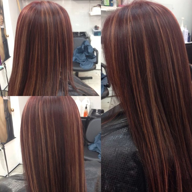 Red Mahogany With Gold Highlights For The Love Of Hair