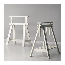 FINNVARD Trestle with shelf - white - IKEA Yeah, these from Ikea to create my door tables at the bar hight!