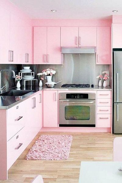 Pink Cabinets, Stainless Steel Countertops and Painted Kitchen