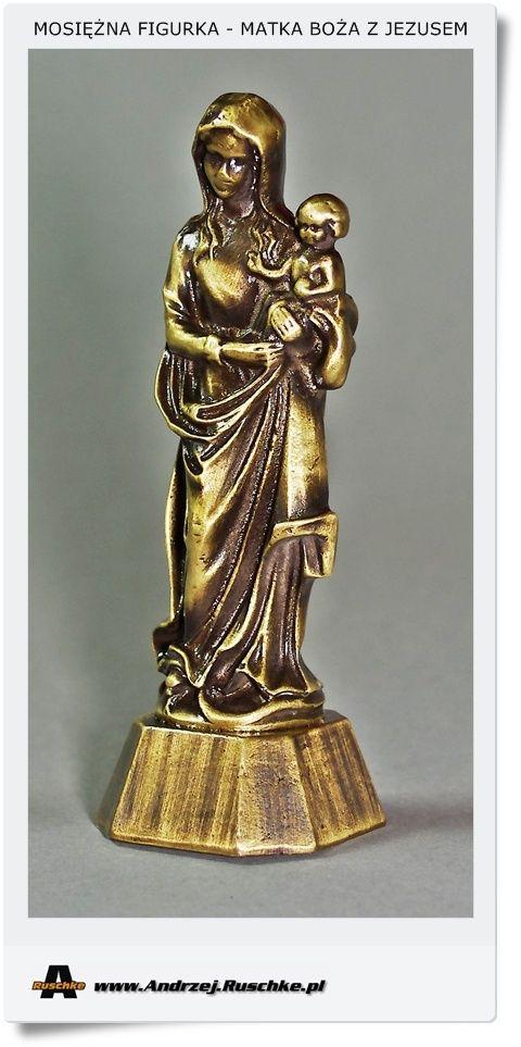 Wyjątkowa mosiężna figurka Matka Boża z Jezusem - Jakość 1