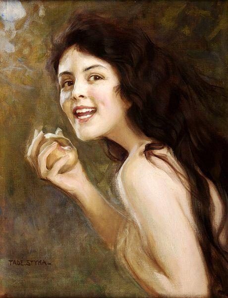 "Girl with apple by Polish painter Tadeusz ""Tade"" Styka"