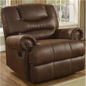 Laredo Traditional Glider Recliner with Nail Head Trim - Unclaimed Freight Co. & Liquidation Sales - Three Way Recliner