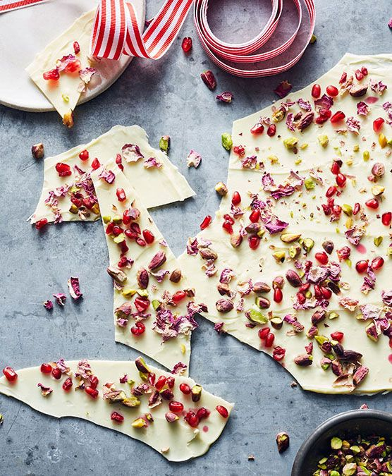 WHITE CHOCOLATE BARK Make a pretty edible gift for friends and family with the fragrant flavours of the Middle East.