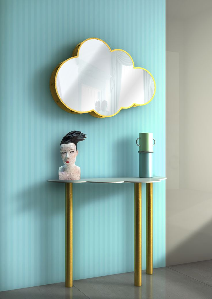 a moveable feast in the #clouds, festa mobile pot and #nuvola mirror and console, design by Elena Cutolo and Garilab by Piter Perbellini for #altreforme #dream #interior #home #decor #homedecor #furniture #aluminium