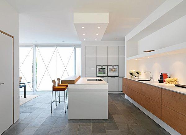Küche Beleuchtung stilvoll weiß innendesign holz schrank