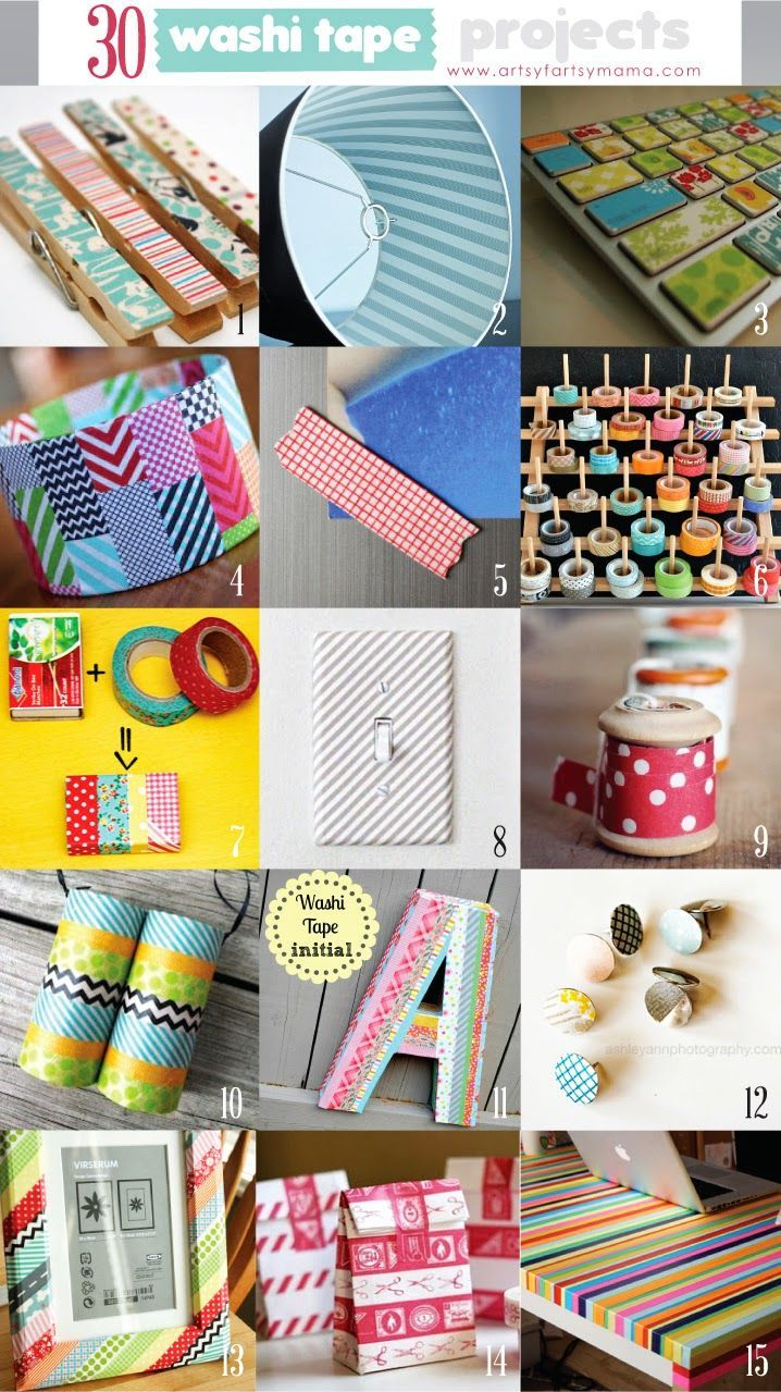 30 Washi Tape Projects artsyfartsymama.com #washi #washitapeprojects #crafts