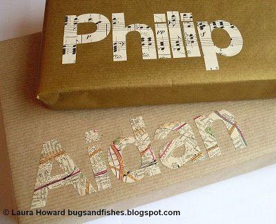 {Photo} Des lettres découpées pour embellir vos cadeaux... ici dans une partition et une carte routière. Maman-c-bo
