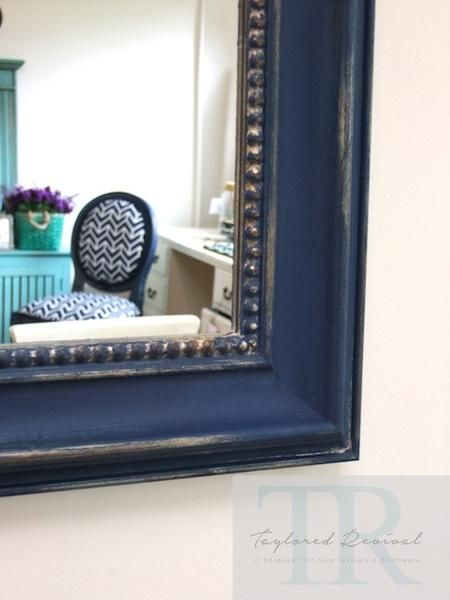 Large hand painted rustic mirror | Napoleonic Blue Chalk Paint® by Annie Sloan with heavy distressing | Project by Auckland, NZ stockist Taylored Revival