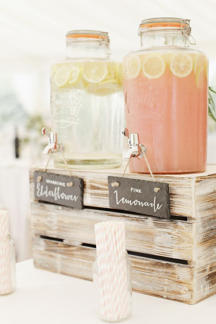 Drinks Dispensers - Rachel Rose Photography | Classic Pastel At Home Marquee Wedding